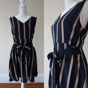 ASOS Iska Tie Front Skater Dress, Stripe, Navy, 10